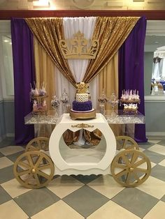 Gold and purple royal princess baby shower! See more party planning ideas at Cat. - Dessert tables on Catch My Party - Baby Tips Shower Party, Baby Shower Parties, Baby Shower Themes, Shower Ideas, Royal Baby Shower Theme, Royal Theme, Shower Cake, Princess Theme, Baby Shower Princess