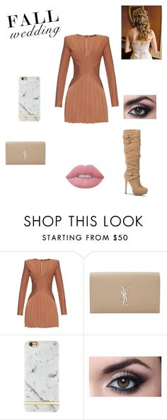 """Fall Wedding"" by caple-j ❤ liked on Polyvore featuring Balmain, Yves Saint Laurent, Richmond & Finch, Lime Crime and fallwedding"