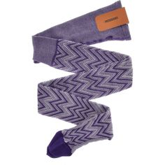 MISSONI ZIG ZAG Purple Woven Tights (€185) ❤ liked on Polyvore featuring intimates, hosiery, tights, zig zag tights, elastic stocking, missoni, purple stockings and purple tights