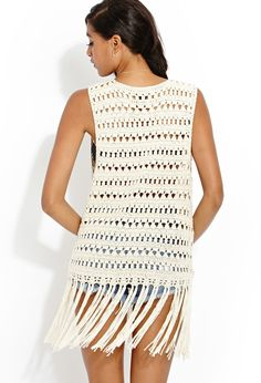 Forever 21 is the authority on fashion & the go-to retailer for the latest trends, styles & the hottest deals. Shop dresses, tops, tees, leggings & more! Gilet Crochet, Crochet Jacket, Knit Crochet, Summer Knitting, Cross Stitch Designs, Shop Forever, Shawls, Latest Trends, Sweaters