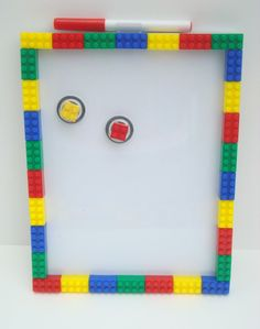 Lego inspired magnetic dry erase memo board and magnet set - teacher gift, bedroom decoration, White Background. $24.99, via Etsy.