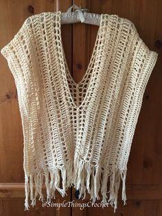 Crochet Poncho Pattern, Ecru Summer Poncho, Easy Crochet Shawl Pattern, Women's Crochet Poncho, Wome - All Photos Poncho Au Crochet, Crochet Beanie, Crochet Stitches, Knit Crochet, Crochet Scarves, Poncho Shawl, Crochet Sweaters, Crochet Motif, Crochet Vests