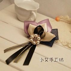 My Colour Handmade Elegant Pearl ribbon bow brooch badge hair accessories Hair Clip ** For more information, visit image link. Ribbon Art, Ribbon Hair Bows, Diy Hair Bows, Diy Bow, Diy Ribbon, Bow Hair Clips, Ribbon Crafts, Fabric Flower Brooch, Fabric Flowers