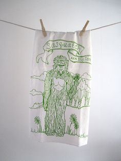 Tea Towel - Screen Printed Organic Cotton Sasquatch Flour Sack Towel - Awesome and Eco Friendly Dish Towel. $10.00, via Etsy.