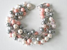 Bridesmaid Bracelet, Coral and Gray Jewelry, Swarovski Coral Pink Pearls with Light pink and Gray Glass Pearls and  Clear Crystals