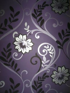 good option for girl's bedroom accent wall – Home Office Design For Women Purple Love, All Things Purple, Shades Of Purple, Purple Flowers, Purple Bedrooms, Silver Bedroom, Feature Wallpaper, Accent Wall Bedroom, Purple Wallpaper