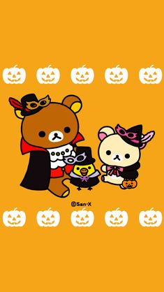 Rilakkuma Wallpaper, Sanrio Wallpaper, Girls Night Crafts, Craft Night, Sanrio Characters, Fictional Characters, Halloween Wallpaper, Cute Wallpapers, Happy Halloween