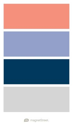 Coral, Periwinkle, Navy, and Silver Wedding Color Palette - custom color palette created at MagnetStreet.com