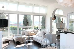 designed-for-life: In Vancouver, the fashion stylist made a Gastown condo feel like a glamorous beachfront retreat using translucent materials and natural textures. Narrow Living Room, Casual Living Rooms, Living Room Decor Cozy, Eclectic Living Room, Living Room On A Budget, Paint Colors For Living Room, Accent Chairs For Living Room, Home Living Room, Living Room Designs