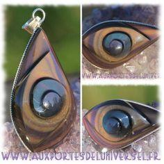 Pendentif caracol en Obsidienne Oeil Céleste sur la boutique ésotérique en ligne Aux Portes de l'Universel