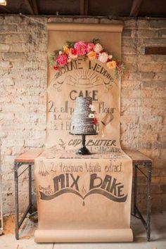 Peonies and Chalkboard Wedding Inspiration - Belle The Magazine Rustic Wedding Desserts, Wedding Cake Table Decorations, Wedding Table, Wedding Cakes, Wedding Rustic, Wedding Cake Backdrop, Dessert Wedding, Dessert Table Backdrop, Chalkboard Wedding