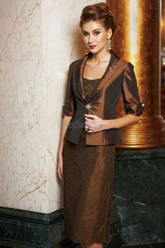 Classic Knee-length Mother of the Bride Dress with Cropped Jacket
