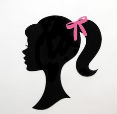 FABRIC 5 3 4 X 1 2 Barbie Silhouette Iron On Applique Diy With Bow