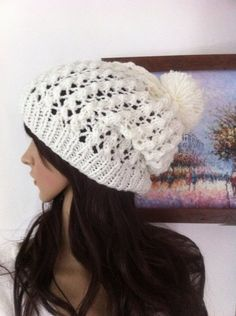 cream color Slouch Beanie Slouchy  Hat Button by LoreNovedades, $35.00