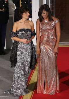 We'll miss First Lady Michelle Obama for her intelligence, class, and of course, her STYLE! Take a look at all of Mobama's gorgeous state dinner dresses through the years!