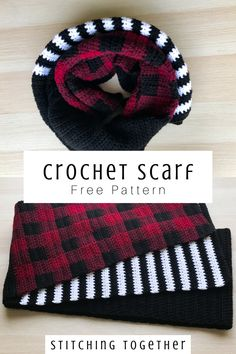 I love this striped and buffalo plaid scarf pattern. It's so cute and trendy. Ma… I love this striped and buffalo plaid scarf pattern. Plaid Crochet, Crochet Winter, Crochet Scarves, Crochet Shawl, Crochet Clothes, Knit Crochet, Knit Cowl, Knitted Shawls, Crochet Granny