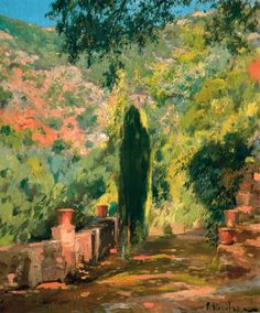Eliseo Meifrén Roig. Jardín, Mallorca. Óleo sobre lienzo. Firmado. 66,4 x 56,7 cm. Colección BBVA.
