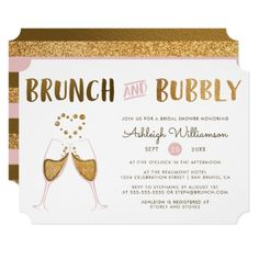 Gold & Pink Brunch & Bubbly Wedding Bridal Shower Card - invitations custom unique diy personalize occasions