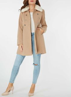 Womens Oat Coat With Detatchable Faux Fur Collar- Neutral