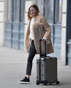 Olivia Palermo wheels her own luggage in Brooklyn New York 21.01.2017