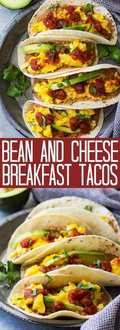 These meatless Bean and Cheese Breakfast Tacos are a great way to start the day! They are healthy, hearty, and delicious!
