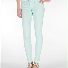 """Flying Monkey Mint Skinny Jean Neutral and beautiful mint colored skinny jeans. Perfect with an oversize sweater or t shirt and blanket scarf. Purchased from The Buckle. 30"""" inseam, non-sheer. I am a suggested user and trusted seller, shop with confidence! Flying Monkey Pants"""
