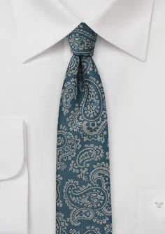 Teal Blue Skinny Tie with Gray Paisley - With versatility you can accommodate this tie to impress your boss at that important meeting and still have it on for that cocktail pa Teal Tie, Blue Ties, Cheap Neckties, Paisley, Deep Teal, Tie And Pocket Square, Skinny Ties, Autumn Winter Fashion, Mens Fashion