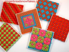Plastic Canvas Coasters in progress | by gingerbread_snowflakes