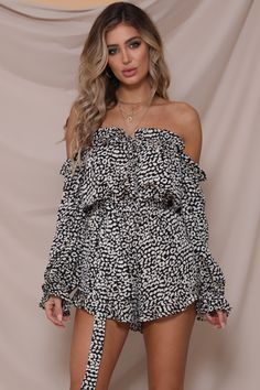 Kitty Playsuit in Black Leopard Print Runaway The Label, Off The Shoulder Playsuit, Playsuits, Jumpsuits, No Frills, Sunny Days, Online Boutiques, Super Cute, Rompers