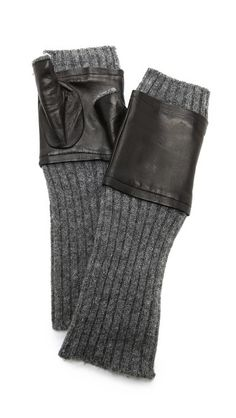 Fingerless Knit & Leather Gloves  by Carolina Amato