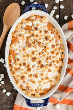 My Sweet Potato Casserole Recipe is a classic Thanksgiving side dish with fresh mashed sweet potatoes, brown sugar, cinnamon, and topped with marshmallows! Best Sweet Potato Casserole, Sweet Potato Souffle, Sweet Potato Pecan, Potatoe Casserole Recipes, Sweet Potato Recipes, Thanksgiving Casserole, Thanksgiving Side Dishes, Thanksgiving Recipes, Thanksgiving Feast