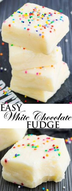 This easy, no bake, 2 ingredient WHITE CHOCOLATE FUDGE recipe requires only condensed milk and white chocolate. It's rich, fudgy, creamy and great as a dessert or homemade gift for the Christmas Holid(Fudge No Baking Cookies) Fudge Recipes, Candy Recipes, Sweet Recipes, Baking Recipes, Dessert Recipes, Milk Recipes, Easy Desserts, Delicious Desserts, Yummy Food