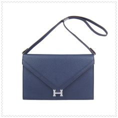 Hermes Messenger Bag Togo Leather Dark Blue With Silver Hardware