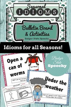$  This seasonal idioms packet contains posters that can be used for bulletin boards and/or teaching of figurative language.