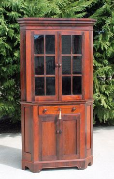 Antique 19thc Cabinetmakers Rosewood Corner China Cabinet Cupboard Orig. Glass #Empire