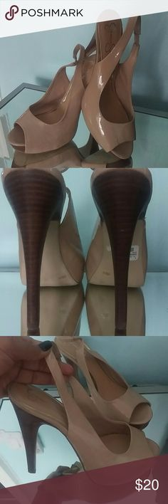Jessica Simpson patent leather nude platforms Jessica Simpson patent leather nude platforms. Worn once, too small for my sister in-law. Heel is 5 inches and platform is 1 inch. No nicks on the heels. Tiny spec on left shoe, not noticeable, just wanted to disclose. Jessica Simpson Shoes Platforms