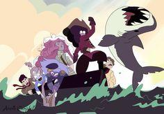 Segundo a Garnet, difícil foi fazer o tubarão posar para a foto...hahahaha. Crystal Gems ensemble <3