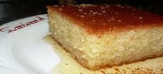 Ravani is a sponge pie covered with syrup