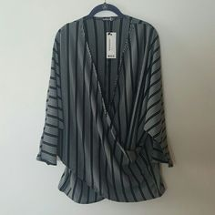 Boohoo Plus NWT 16 18 US striped wrap tunic top x2 NWT from Boohoo Plus in size 16 US. I find this yop to run big and it would almost certainly better fit a size 18 US. Batwing sleeves, slightly longer than 3/4 sleeves, wrap front detail, black and white stripes, very stretchy fabric.    I would wear this to death in a smaller size, but instead I accidentally ordered this top twice in the same size. Doh!  I have 2 of these tops available. One is still completely unopened and that will be…