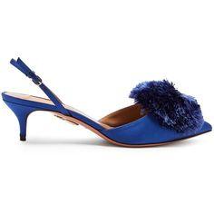 Aquazzura Powder Puff slingback satin pumps ($795) ❤ liked on Polyvore featuring shoes, pumps, blue, royal blue shoes, pom pom shoes, slingback shoes, royal blue satin pumps and kitten heel slingbacks
