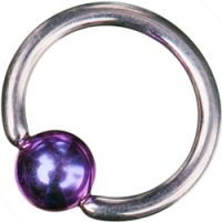 Surgical Steel Ball Closure Rings with Bright Purple Titanium Ball