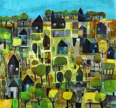 Art and illustration Fantasy Landscape, Landscape Art, Landscape Paintings, Illustrations, Illustration Art, Naive Art, Contemporary Paintings, Painting Inspiration, Home Art
