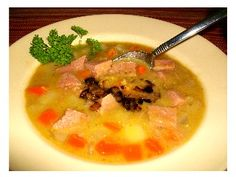German Split Pea Soup made with ham and served with fried onions on top. http://www.quick-german-recipes.com/slow-cooker-split-pea-soup.html