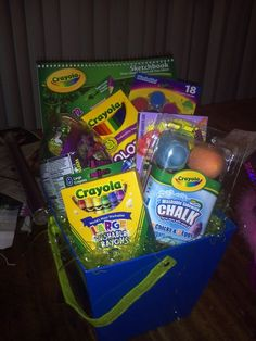 A Gift Basket of Creativity for just a Few Dollars baskets for kids Dollar Store Gift Baskets for Everyone on Your List Theme Baskets, Kids Gift Baskets, Themed Gift Baskets, Christmas Gift Baskets, Christmas Gifts, Easter Baskets, Basket Gift, Halloween Gift Baskets, Fundraiser Baskets