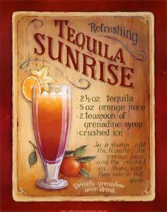 Tequila Sunrise Cocktail Stamp Car Bumper Sticker Decal 6/'/' x 3/'/'