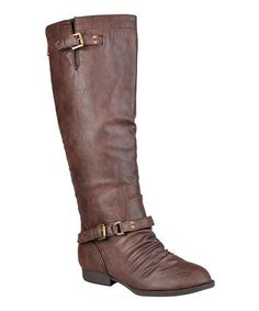 Brown Ruched Wide-Calf Stella Boot by Journee Collection #zulily #zulilyfinds