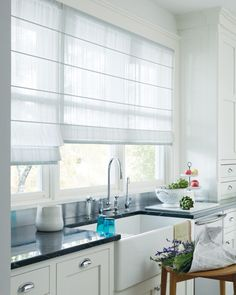 Trendy Kitchen Window Over Sink Roman Shades Curtains Kitchen Window Blinds, Kitchen Window Coverings, House Blinds, Kitchen Window Treatments, Blinds For Windows, Kitchen Curtains, Kitchen Windows, Kitchen Blinds Above Sink, Room Window