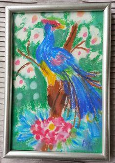 minature painting paradise bird 10x 15 cm. soft pastels
