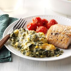 Cheesy Spinach Side Dish Recipes, Vegetable Recipes, Healthy Dinner Recipes, Vegetarian Recipes, Fall Recipes, Cheesy Spinach Recipe, Creamed Spinach, Cooked Spinach Recipes, Spinach Salad