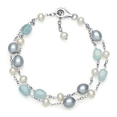 .925 Sterling Silver White & Grey Freshwater Pearl & Aquamarine Bracelet - Jewelry For Her